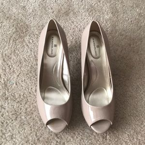 Nude open toed heels